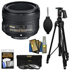 Introducing Nikon 50mm f18G AFS Nikkor Lens with 3 UVCPLND8 Filters  Pistol Grip Tripod Kit for D3200 D3300 D5300 D5500 D7100 D7200 D750 D810 Cameras. Great Product and follow us to get more updates!
