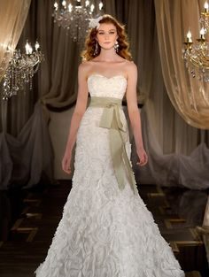 sweetheart neckline with sash