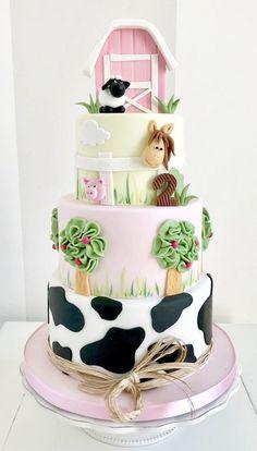 Elegant baby's cake Farm Birthday Cakes, Cow Birthday, Farm Animal Birthday, Birthday Cake Girls, Petting Zoo Birthday Party, Birthday Ideas, Farm Animal Party, Happy Birthday, Barnyard Cake