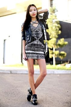 Gorgeous abstract mini dress with a cropped leather jacket! Women's urban street style fashion for spring.  Dates going out with friends