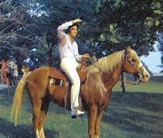 Elvis with his palomino named Rising Sun. Taken about 1970.