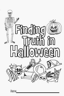 A great coloring booklet with lots of info on what Catholics believe about Halloween, All Saints' Day and All Souls' Day. Can be printed for free and used at home, at a Halloween party, or in a classroom.  From Look to Him and be Radiant: Finding Truth in Halloween