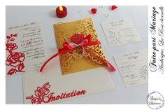 Faire-part Mariage - Modèle arabesque - La Rose Eternelle en rouge et doré. Faire-part ciselé, découpe façon laser Arabesque, Creations, Gift Wrapping, Tableware, Gifts, Laser Cutting, Personalised Gifts, Red, Gift Wrapping Paper