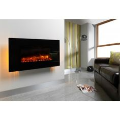 Be Modern 57029 Black Glass Orlando 1070 mm Wall Mount LED Electric Fire with Coal Bed Effect