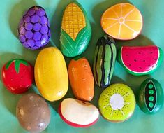 Fruits and Vegetables Play Food/Mud Kitchen Stones 12 Piece Set, Story Stones, Play House, Pretend and Creative Toys & Garden Stones – Lindsey Becker - Space Mud Kitchen, Kitchen Paint, Pretend Kitchen, Kitchen Sets, Rock Crafts, Diy Crafts, Painted Rocks, Hand Painted, Imagination Toys