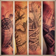 Travel tattoo compass plane stamps