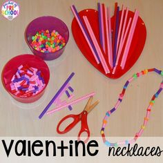 Valentine's Day Themed Centers and Activities - Pocket of Preschool - Candy Heart Pattern FREEBIE plus all my favorite Valentine's Day themed writing, math, fine motor - Valentine's Day Crafts For Kids, Valentine Crafts For Kids, Valentines Day Activities, Valentines Day Craft Preschool, Valentine Ideas, Valentine Theme, Valentines Day Party, Valentine Sensory, Valentine Nails