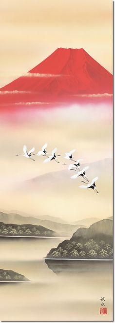 Hanging scroll-Dancing crane in the Red Fuji/Shusui Ukita (landscape painting Kakejiku)