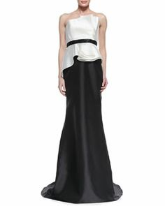T7WX4 Carmen Marc Valvo Strapless Ruffle Bodice Combo Gown, Ivory/Black