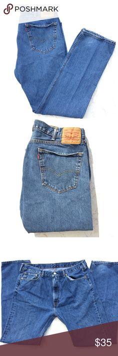 {Levi's} 505 High Rise Blue Denim Jeans Classic Levi's 505 blue denim jeans! There are some minor flaws such as the bent pocket (which can be fixed with a quick iron press), and the small stains that are on the left back pocket as seen in the pics above! Waist is 19 inches flat. Rise is 12.5 inches. And the inseam is 34 inches. Unisex but I'm listing as men's. Levi's Jeans Straight