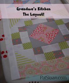 "Free Grandma's Kitchen quilt, 12"" and 10"" quilt blocks chock full of memories! #quilt"