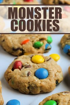 This is an easy recipe for Monster Cookies. My Monster Cookies recipe is soft, loaded with sweet treats, and perfect for sharing! Delicious Cookie Recipes, Easy Cookie Recipes, Yummy Cookies, Brownie Recipes, Cheesecake Recipes, Easy Desserts, Dessert Recipes, Potluck Desserts, Bar Recipes