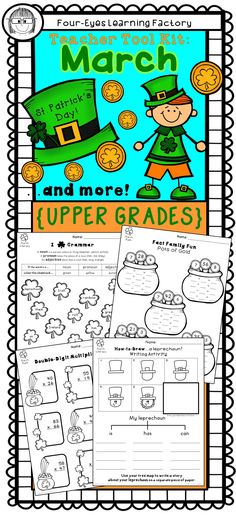 Tons of fun teacher tools for the whole month of March!  Celebrate St. Patrick's Day (plus some of the lesser known March holidays like World Poetry Day) with these fun and educational activities for the entire month. Created with Common Core in mind, each math and literacy tool is designed to reinforce fundamental skills in the upper grades.