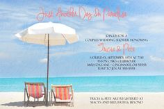 hand crafted Beach wedding invitations | Couples Bridal Wedding Shower Invitation Any Colors Beach Chairs