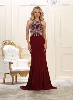 123ff02d5a9a This stunning mermaid fit floor length dress features halter with embellish  rhinestones embroideries and stretch ITY material.