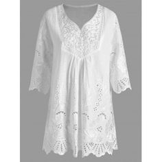 Plus Size V Neck Embroidered Tunic Top Plus Size Blouses, Plus Size Tops, Plus Size Cover Up, Cheap Tank Tops, Plus Size Bikini, Clothing Sites, Embroidered Tunic, Mode Hijab, Lace Tops