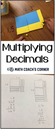 Concrete learning helps make sense of multiplying decimals. See photos of several examples!