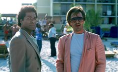 """Get out your pastels and Glenn Fry tunes-""""Miami Vice"""" celebrates the anniversary of its premiere on NBC on this date. And stars Don Johnson and. Miami Vice, Vice Tv Show, Nash Bridges, Mejores Series Tv, Michael Thomas, Cop Show, Don Johnson, Pink Outfits, Fashion Pictures"""
