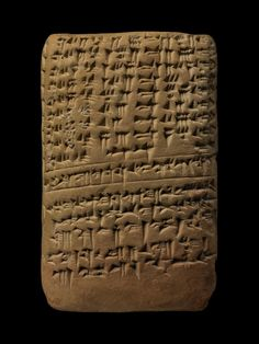 Cuneiform tablet -- Library of Ashurbanipal (Late Babylonian clay tablet: table of lunar longitudes. Contains a table for the daily change in the duration of the visibility of the moon on the thirty days of the month of the winter solstice according to the tradition of the city of Babylon.)