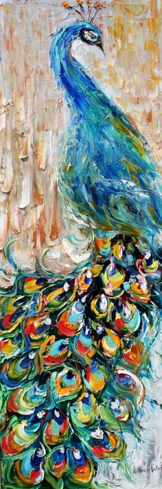 Original oil painting impasto PEACOCK decorative impressionistic palette knife fine art by Karen Tarlton