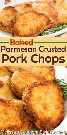 Baked Parmesan Pork Chops, Parmesan Crusted, Potluck Recipes, Pork Recipes, Cooking Recipes, Easy Pork Chop Recipes, Dinner Recipes, Pork Chop Dinner, Pork Dinner Ideas