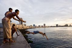 Picture of boys playing by the ocean in Havana, Cuba