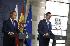 15/07/2013 Madrid, España El Presidente del Gobierno, Mariano Rajoy y el Primer Ministro de Polonia, Donald Tusk, durante la IX cumbre hispano-polaca celebrada en el Palacio de la Moncloa. Fotografía: Diego Crespo / Moncloa Presidencia del Gobierno