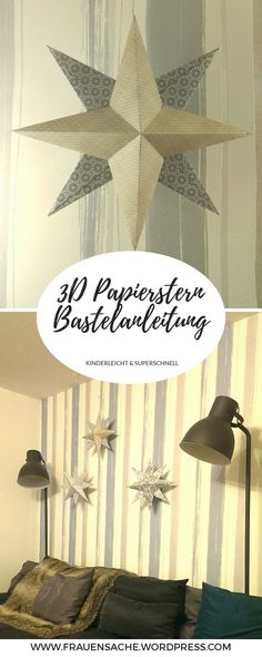 [DIY] Zauberhafter Deko Papierstern In this guide, I'll show you step by step how you can do Decoration Christmas, 3d Christmas, Paper Stars, Diy Weihnachten, How To Make Paper, Paper Decorations, Spring Summer Trends, Pom Poms, Gifts For Kids