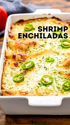 Veggie Recipes, Fish Recipes, Seafood Recipes, Mexican Food Recipes, Recipies, What's Cooking, Cooking Recipes, Shrimp Enchiladas, Chicken Enchilada Bake