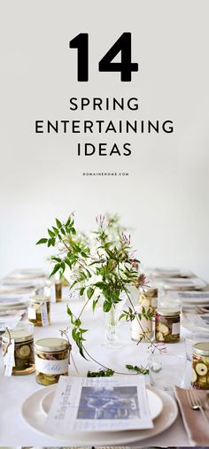 entertaining ideas for spring | white table cloth, pickle jar party favors + glass vases of delicate, wild greens