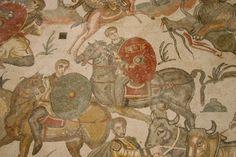 Soldados a caballo. Mosaico de la Gran Cacería. Villa romana del Casale en Pîazza Armerina (Sicilia)