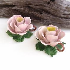 porcelain flowers, pink roses, green, candle holders, candles, rose taper, candl holder, flower candl, vintage flowers