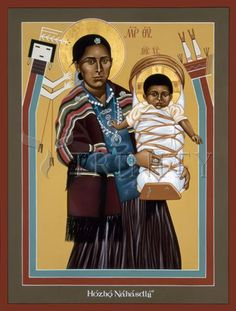 "Navaho Madonna | Catholic Christian Religious Art - Icon by Br. Robert Lentz, OFM - From your Trinity Stores crew, ""Mother Mary pray for us!"""