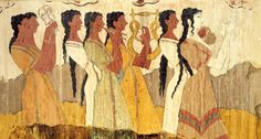 Part of the Reconstruction of the Cupbearers Fresco in the Corridor of Procession , Knossos , 1700-1400 BC