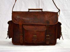 Real genuine vintage leather messenger brown camera lens satchel bag briefcase #Unbranded #MessengerShoulderBag