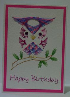 hand stitched owl card