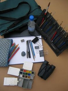 My Field Sketching Kit. Alison Nicholis..  Really like the brush holder that folds into a stand.