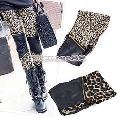 Women's Patchwork Zipper Leopard Leggings Stretch Tights Skinny ELR8 Thin Pants | eBay