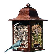 Birds will flock to this stylish bird feeder, with its U-shaped perches that they prefer. The Birdscapes® Tulip Garden Lantern Feeder holds up to 3 lbs. of seed, has 4 feeding stations, bird-preferred U-shaped perches and a rustic brown powder coat finish. It utilizes the Sure-Lock™ cap system which keeps squirrels out yet lets birds feed. In addition, this bird feeder comes with a squirrel-proof wire hanger. The transparent seed compartment makes it easy for youto monitor seed levels and…