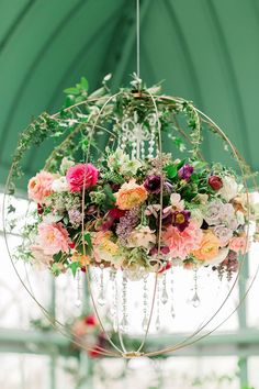 Floral Design Fabulous Floral Decor adds Colorful Whimsy to the Appalachian Mountains Chandelier adds Appalachian Colorful Decor Design Fabulous floral floral Chandelier Mountains Whimsy Hanging Flowers Wedding, Flower Chandelier, Flower Ceiling, Decoration Evenementielle, Hanging Crystals, Floral Garland, Ceiling Decor, Forest Wedding, Floral Arrangements