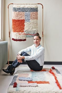 "Mae Engelgeer, textile designer -- Yeah Rug ___ ""Inspired by the Berber and Boucherouite style carpets with knotted and heavy wool feel. Textile Texture, Textile Fiber Art, Weaving Textiles, Tapestry Weaving, Rya Rug, Rug Studio, Woven Wall Hanging, Rug Hooking, Handmade Rugs"