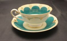 Green and gold teacup and saucer Castle China Occupied China Bday Gift For Boyfriend, Boyfriend Gifts, Vintage China, Vintage Green, Cool Gifts, Best Gifts, Vintage Coffee Cups, Beautiful Gifts, Beautiful Things