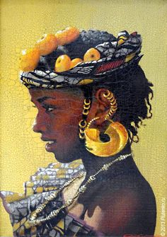 'Senegal' from the Girls of Africa series by artist Stanislav Plutenko | The artist's signature method — a mixed technique employing oil, tempera, acrylic, watercolour — skilfully supplemented with airbrushing and finest glazing with clear paints.
