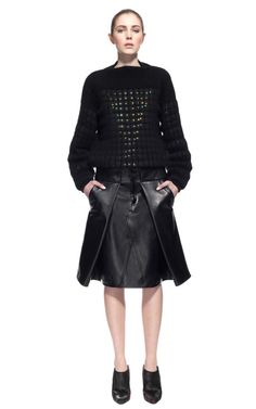 Sweater + Awesome Leather Skirt | Alexander Wang - Fall 2013