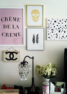 Who says gallery walls are just for living rooms? Arranging one beside your bed above the nightstand is an unexpected but fun idea.