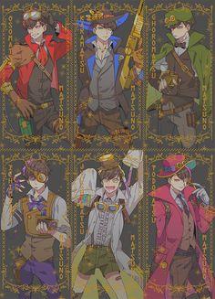 Osomatsu-san, anime, osomatsu, karamatsu, choromatsu, ichimatsu, jyushimatsu, todomatsu, steampunk au