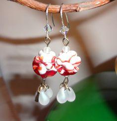 orecchini  fatti a mano con perline vintage in  vetro giapponese handmade