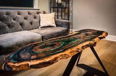 "1,691 Likes, 14 Comments - wood defined. (@wooddefined) on Instagram: ""Live edge coffee table with resin. ▪️▪️▪️▪️▪️▪️▪️▪️▪️ Source: @thewrightedge . . . . . . . . .…"""