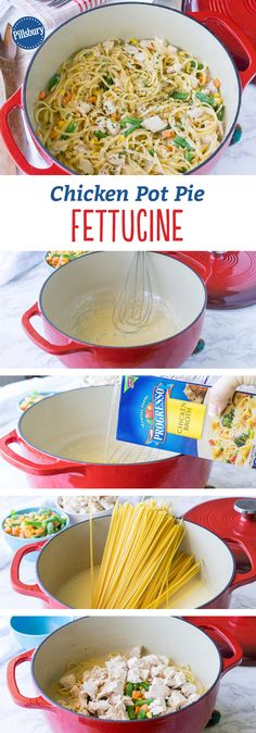 Chicken Pot Pie Fettucine: In this easy one-pot meal, the flavors of a classic chicken pot pie are turned into a tasty twist on fettuccine. Recipe by @pillsbury blogger @iwashyoudry!