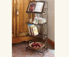 Great for Kitchen storage. Cookbook + plates + more.